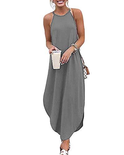 CNFIO Sommer-Maxikleider für Damen, lockerer Riemen, langes Kleid, lässig, Strandkleid Gr. X-Large, grau