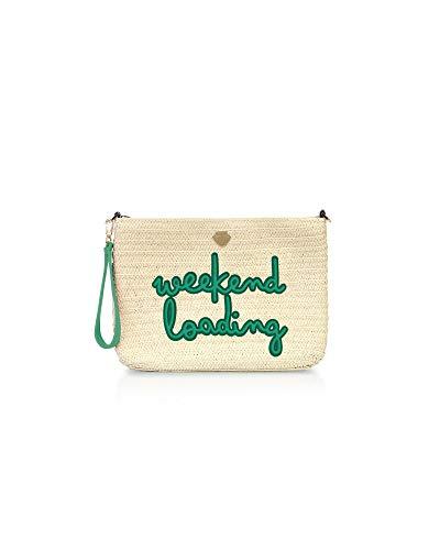 Le Pandorine Cannella Pochette WEEKEND effetto paglia, chiusura a zip con pendente e tracolla. Testo: Weekend loading. Dimensione: 32x22.5x0 cm
