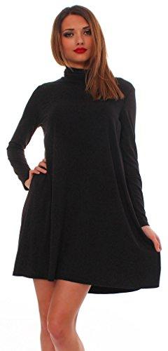 Mississhop 65-10 Japan Style Damen Longshirt Kleid Pulli Tunika Schwarz L