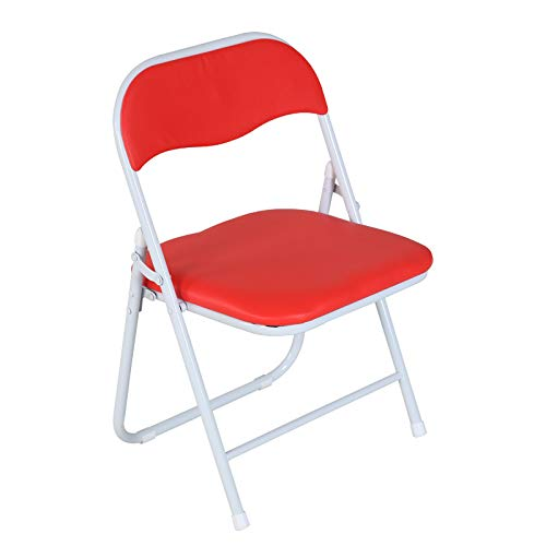 MINMINA Folding Chair Children's Dining Chair Home with Computer Desk Folding Chair Student Children's Dining Chair Stool Low Chair small seat Height 40cm   PU Leather,White red