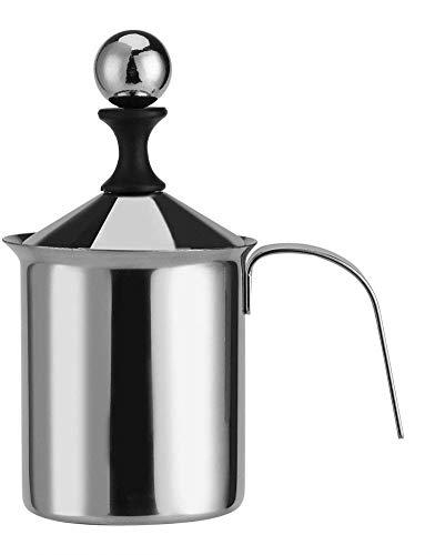 Zerodis Manueller Milchaufschäumer aus Edelstahl, Doppelmaschig, 400 ml/800 ml, für Latte, Cappuccino, Macchiato, heiße Schokoladenkaffee (800 ml)