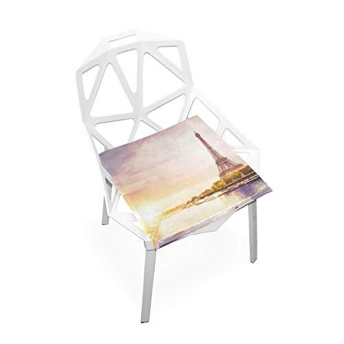 Frankreich Skyline Paris Romantischer Eiffelturm Weiche rutschfeste quadratische Memory Foam Chair Pads Kissen Sitz für Home Kitchen Esszimmer Büro Rollstuhl Schreibtisch Indoor 16 X 16 Zoll