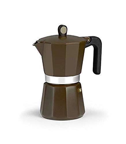 Monix New Cream - Cafetera Italiana de Aluminio, Capacidad 12 Tazas, Apta para Todo Tipo de cocinas incluida inducción