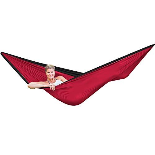 LAMURO Hängematte Rot mit Baumaufhängung, Karabinern, Anker & Seil - Portable Camping-Hängematte mit Tragetasche zum Wandern, Reisen