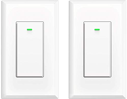 Smart Light Switch, Wifi Light Switch No Hub Required, Phone Remote Control Wireless Decora Switch, Requires Neutral Wire, Timing Schedule, Compatible with Alexa and Google Home KULED K36 2Pack