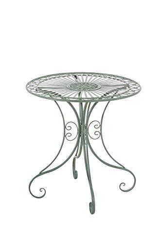 CLP Mesa de Jardín Hari | Mesa Auxiliar de Exterior en Estilo Rústico | Mesa de Terraza Redonda Diámetro: 70 cm | Color:, Color:Antiguo-Verde