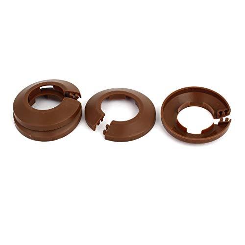 Cubierta plástica del tubo de agua del radiador del reborde de la pared de 32 mm marrón 4 piezas