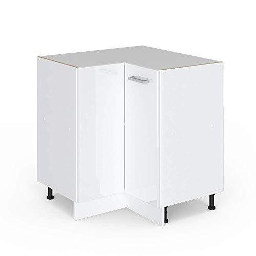 Vicco Küchenschrank Hängeschrank Unterschrank Küchenschränke Küchenunterschrank Arbeitsplatte, Möbel verfügbar in anthrazit und weiß (weiß ohne Arbeitsplatte, Eckunterschrank 87 cm)