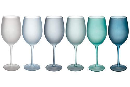 Villa d'Este Home Tivoli Shades of Blue Set 6 calici frosted in vetro 550 ml