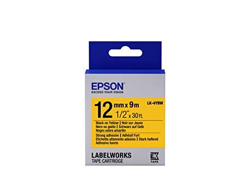 Epson LK-4YBW Schriftband für Etikettendrucker, Schwarz auf Gelb, für LabelWorks LW-1000P LabelWorks LW-300 LabelWorks LW-400 LabelWorks LW-400VP LabelWorks LW-600P, Blisterverpackung