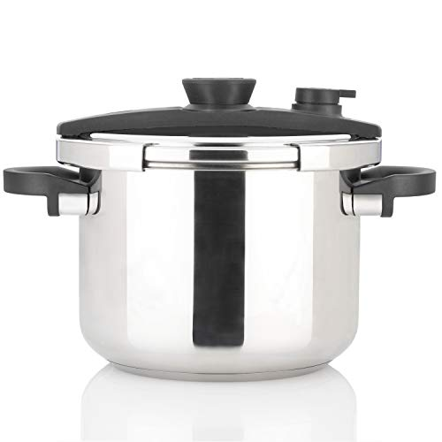 Zavor EZLock 8 Quart Stove-top Pressure Cooker with Dual Pressure Settings, Universal Locking Mechanism, Recipe Book and Steamer Basket - Polished Stainless Steel (ZCWEZ04)