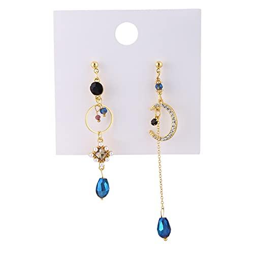 HBWHY Pendientes para mujer con flecos y cristales azules de luna, estilo vintage, elegantes pendientes de borla