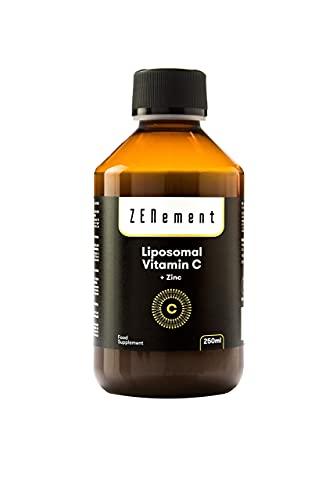 Vitamina C Liposomal con Zinc, 250 ml | Alta absorción y biodisponibilidad | Antioxidante, reducción del cansancio y la fatiga, apoya el sistema inmune | Vegano, sin alérgenos, No-GMO | de Zenement