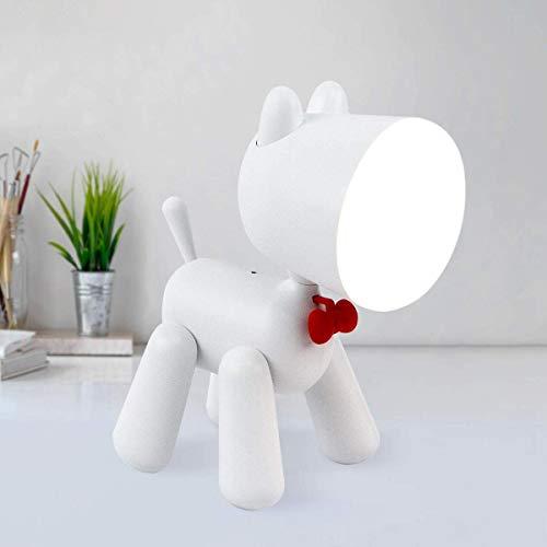 Nachtlampje, LED Eye-Caring welpentafellamp babykamer nachtlampje met USB-aansluiting 2 verlichtingsmodi, leesbureaulamp kerstcadeau voor meisjes vrouwen kinderen slaapkamer lamp wit