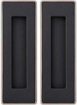Sehrgut Flush Pull Handle  2 Pack  6  Rectangular Plated Oil Rubbed Bronze Free of Sharp Edge for Sliding Pocket Barn Door or Cabinet