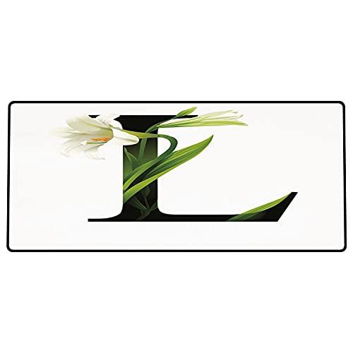Tappetino per mouse da gioco Lettera L, tipografia ABC concettuale L maiuscola con grazia naturale floreale fiorita di giglio, ve Superficie liscia, base in gomma antiscivolo600x300x3mm
