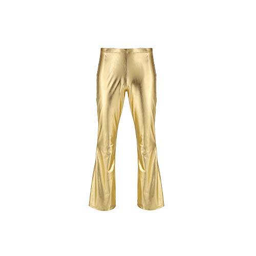 QIAOQIAO Shiny Metallic Disco Broek Bell Bottom Flared Lange Broek Dude Kostuum Broek Heren Flare Broek