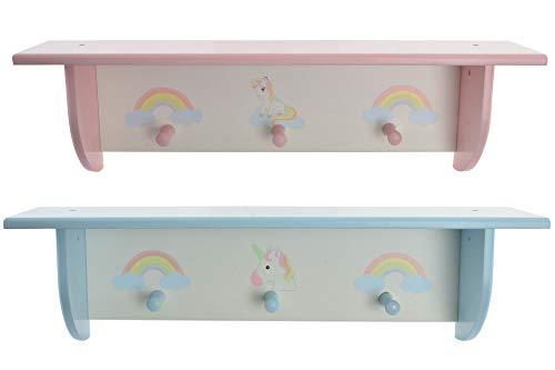 Colgador de Pared - Preciosa y Práctica Estanteria Perchero Pared Infantil/Bebé con 3 colgadores MDF 60X13X17 Unicornio y Arco Iris (Azul)