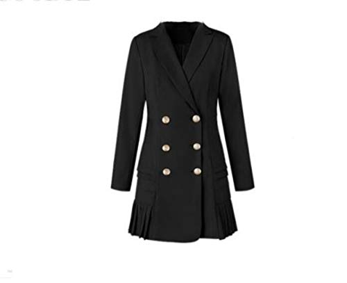 wkd-thvb Trajes de vestir para mujer chaqueta larga chaqueta de pista de diseñador de doble botonadura señoras plisado mini vestido