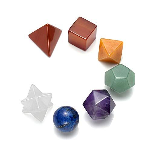 CrystalTears Set di 7 pietre in platonico per corpo, decorazione Reiki Healing 7 Chakra, pietre di cristallo, bilanciamento, santa geometria gemma, colore multicolore