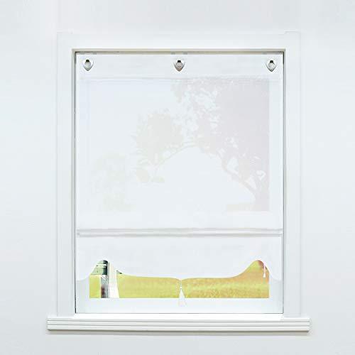 SCHOAL Raffrollo ohne Bohren Raffgardinen mit Ösen Gardinen Landhaus Ösenrollo Vorhänge Leinen Transparent BxH 100x140cm 1 Stück Weiß