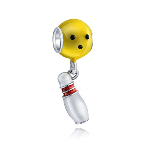 Emaille Vergoldete baumeln Ten Pin Bowling Kugel Charme 925 Sterling Silber Sport Perlen