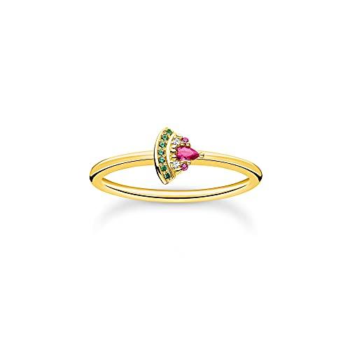 Thomas Sabo Anillo para mujer con diseño de sandía, plata de ley 925 con chapado en oro amarillo 750 con circonitas en verde, rosa y blanco, talla 56, TR2353-488-7-56