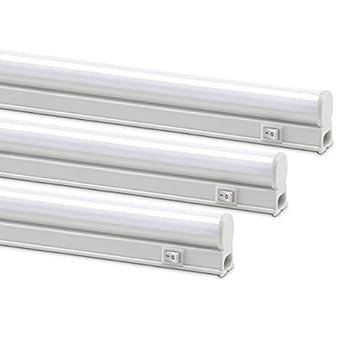 Monios-L Linkable LED Under Cabinet & Closet LED T5 Light Bar 2FT 9W 800 Lumens 4000K Daylight White Plug and Play 3 Pack