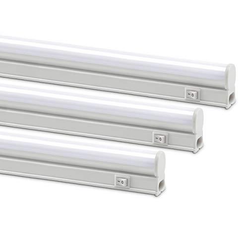 Monios-L Linkable LED Under Cabinet & Closet LED T5 Light Bar, 2FT, 9W 800 Lumens, 4000K Daylight White, Plug and Play, 3 Pack