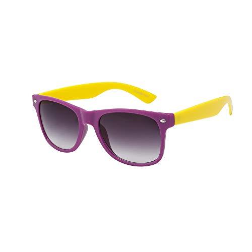 Kinder-Sonnenbrille für Mädchen und Jungen, klassischer Stil, mit UV-Schutz 400, Violett / Gelb
