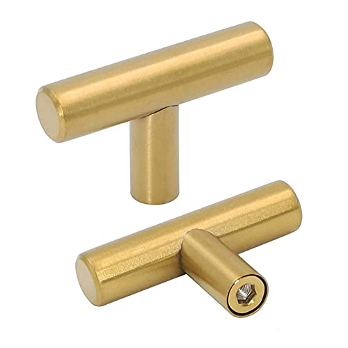 Goldenwarm 10pack Brushed Brass Drawer Knobs Modern Kitchen Door Knob Cabinet T Bar Handle Pull Knob Brushed Brass Overall Length 50mm 2in