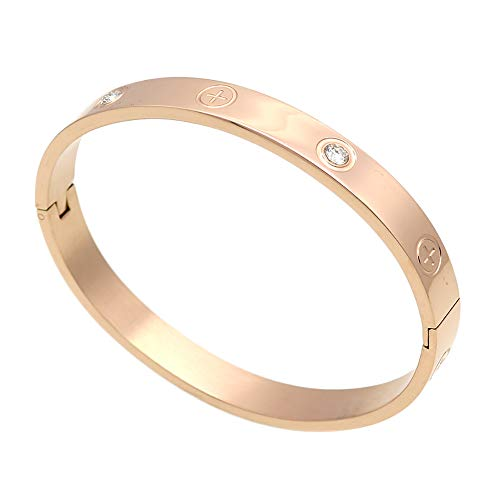 Luxury Gold -Plated Stainless Steel with CZ Stone Simple Style Love Bangle Bracelet for Women Men (Rose size 16cm)