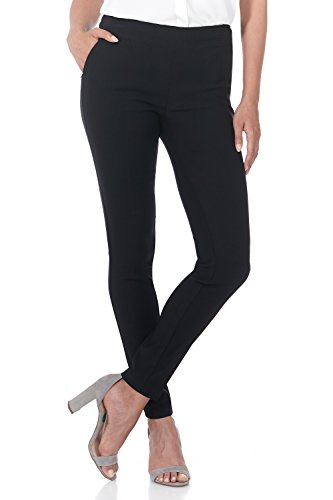 Rekucci Women's Ease into Comfort Modern Stretch Skinny Pant with Tummy Control (12,Black)