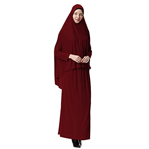 Women 2 Piece Dress Muslim Prayer Set Khimar Abaya Overhead Hijab Skirt Full Cover Islam Clothing Wine Red M