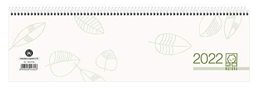 Tischquer-Kalender 2022 36,2x10,6 - 1W/2S grün/weißes Papier Perforation Blauer Engel - Bürokalender 36,2x10,6 - 1 Woche 2 Seiten - Stundeneinteilung 7-20 Uhr - 136-0700-1