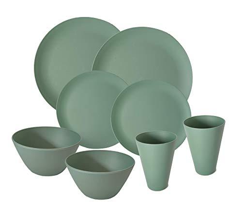 AMTNATURE Komplettes Bambus-Geschirr-Set bestehend aus 8 Teilen, Bambus-Teller, Glas, Schüssel, Camping-Geschirr, Picknick, Strand, Geschirr (Grün)