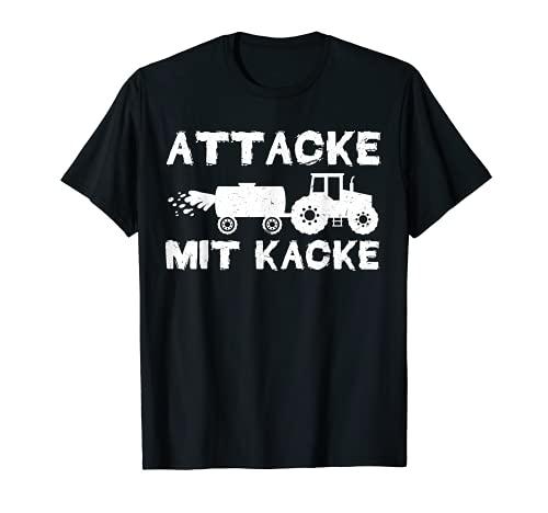 Traktor Traktorfahrer Attacke mit Kacke Landwirt Bauer T-Shirt