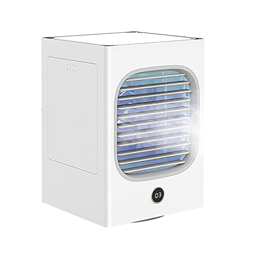 YJQZ aire acondicionado USB portátil aire acondicionado de escritorio ventilador silencioso Mini aire acondicionado de 3 velocidades con luz LED adecuado para dormitorio de oficina