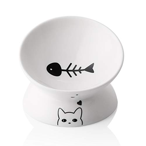 SWEEJAR Ceramic Raised Cat Bowls, Slanted Cat Dish Food or Water Bowls, Elevated Porcelain Pet Feeder Bowl Protect Cat's Spine, Stress Free, Backflow Prevention (White)