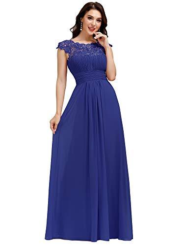 Ever-Pretty Vestiti da Festa Donna Linea ad A Elegante Stile Impero Chiffon Abiti da Damigella d'Onore Blu Zaffiro 48