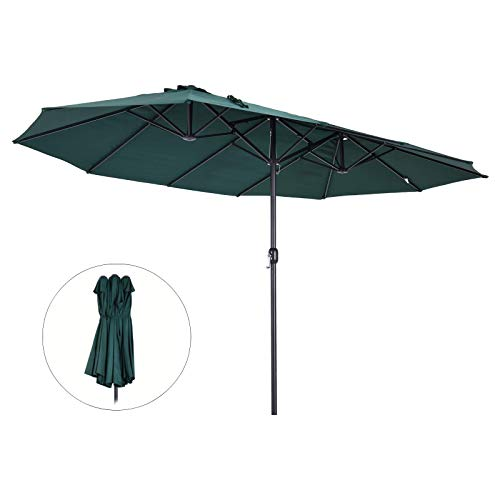 Outsunny Sonnenschirm Gartenschirm Marktschirm Doppelsonnenschirm Terrassenschirm mit Handkurbel Oval Metall + Polyester Grün 460 x 270 x 240 cm