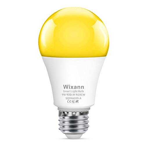 Wixann 9W Smart Light Bulb Compatible with Alexa & Google Home Assistant (No Hub Required, 2.4Ghz Only), A19, E26, 80W Equivalent Dimmable RGBCW Color Changing LED Bulbs for Siri IFTTT, 4 Pack