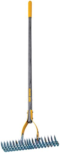 True Temper 2914000 Adjustable Thatching Rake with 54 in. Hardwood Handle with Cushion Grip, 15 Inch