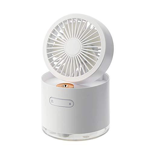 HALIGHT Aire Acondicionado USB, Aire Acondicionado Pequeño, 3 en 1 Ventilador Aire Acondicionado, Humidificador, Ventilador de Escritorio, 3 Velocidades, para el Hogar, Oficina,Blanco