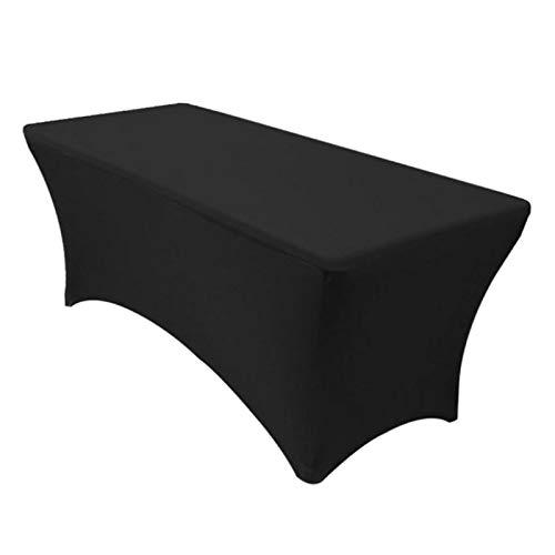 F Fityle Mesa Rectangular de Mantel estirable-boda/Banquete/Feria-Spandex Cloth Cover - Black 183x76x76cm