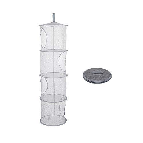 LQKYWNA Red de Almacenamiento Colgante con 4 Compartimentos, Secador de Organizador de Malla de Ahorro de Espacio Multifuncional Portátil Plegable para Ropa, Juguetes, Artículos Diversos (Gris)