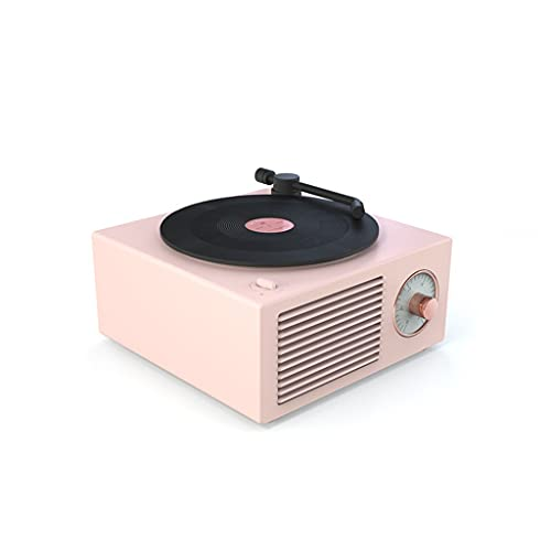 RYSF Music Box Typ Eingebautes Bluetooth Stereo Wireless Vintage Retro Mikrofon Lautsprecher HiFi Aux Unterstützung Tragbarer Plattenspieler Form (Color : Pink)