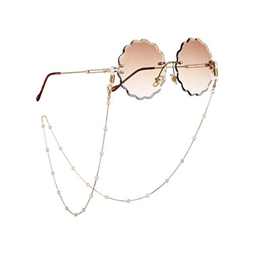 Beaded Eyeglass Chain Sunglasses Holder Strap Eyewear Retainer Lanyard (Pearl 3 with golden chain)