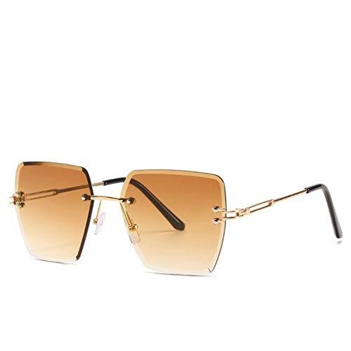 FRGH Gafas De Sol Sin Montura De Gran Tamaño para Mujer, Gafas De Sol Vintage Uv400 para Conducir, Gafas Sin Marco para Hombre Y Mujer