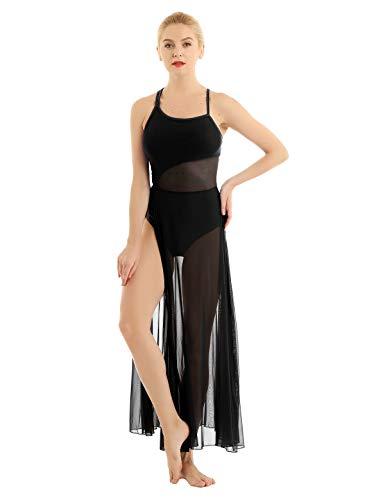 CHICTRY Ragazza Donna Vestito da Danza Classica Lirica Balletto Leotard Body da Ginnastica Abito da Ballo Contemporaneo Dancewear Senza Manica Elegante Allenamento Spettacolo Nero XS
